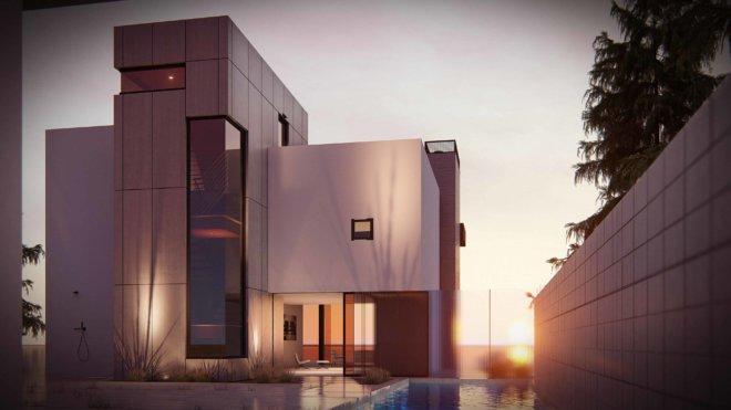 Evening modern house