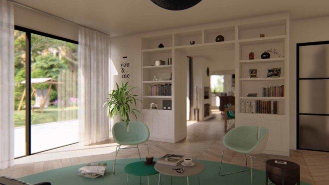 Interior grey-green theme