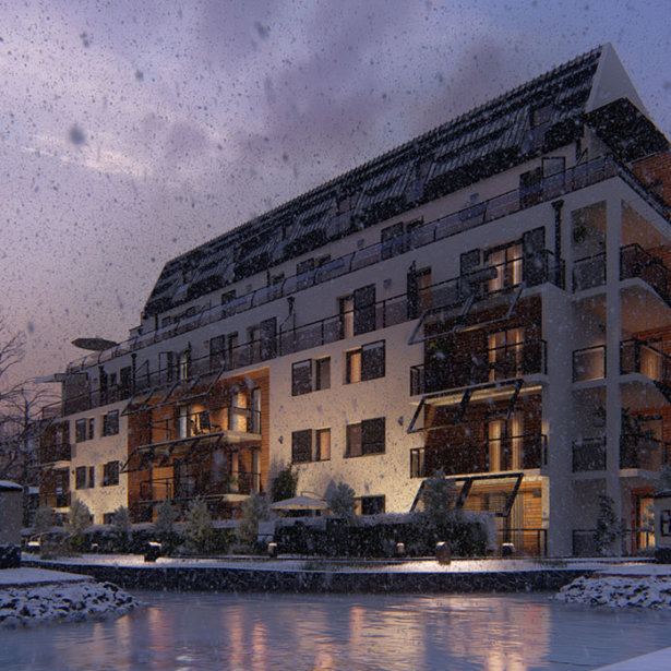 Apartment building - snow