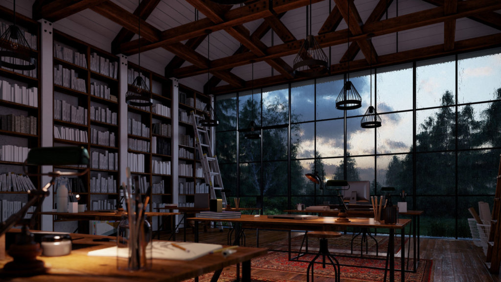 RainyLibraryShowcaseInteriors 1024x576 - Lumion 9